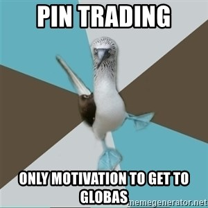 Destination Imagination Derp Bird - pin trading only motivation to get to globas