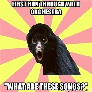 "Musical Theatre Monkey - first run through with orchestra ""What are these songs?"""