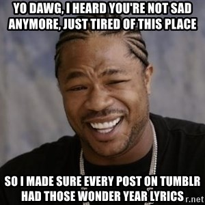 xzibit-yo-dawg - Yo dawg, i heard you're not sad anymore, just tired of this place so i made sure every post on tumblr had those Wonder year lyrics