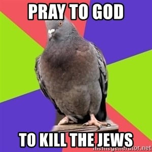 Blasphemous Pigeon - pray to god to kill the jews