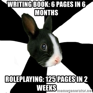 Roleplaying Rabbit - Writing book: 6 pages in 6 months roleplaying: 125 pages in 2 weeks