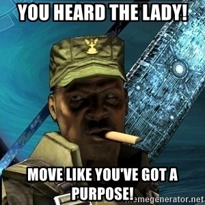 Sargeant Major Johnson - You heard the lady!  Move like you've got a purpose!