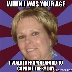 Long Island Mom - when i was your age i walked from seaford to copaige every day.