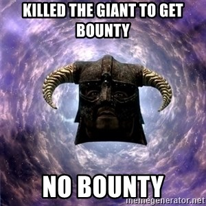Skyrim - KILLED THE GIANT TO GET BOUNTY NO BOUNTY