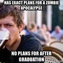 The Lazy College Senior - Has exact plans for a zombie apocalypse no plans for after graduation