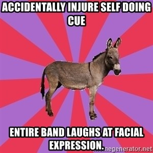 Jackass Drum Major - accidentally injure self doing cue entire band laughs at facial expression.