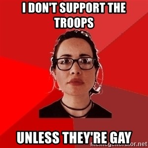 Liberal Douche Garofalo - I don't support the troops unless they're gay