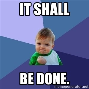 Success Kid - it shall be done.