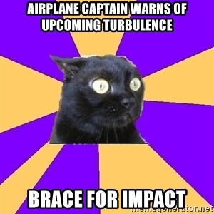 Anxiety Cat - airplane captain warns of upcoming turbulence brace for impact
