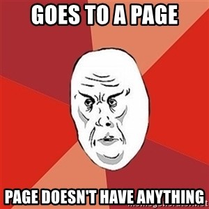 Not Okay Guy - Goes to a page Page doesn't have anything