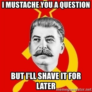 Stalin Says - I MUSTACHE YOU A QUESTION BUT I'LL SHAVE IT FOR LATER