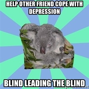 Clinically Depressed Koala - help other friend cope with depression blind leading the blind