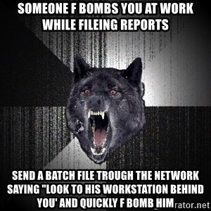 """Insanity Wolf - Someone f bombs you at work while fileing reports send a batch file trough the network saying """"look to his workstation behind you' and quickly f bomb him"""