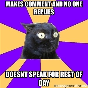 Anxiety Cat - Makes comment and no one replies doesnt speak for rest of day