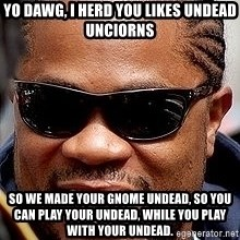 Xzibit - Yo dawg, i herd you likes undead unciorns so we made your gnome undead, so you can play your undead, while you play with your undead.
