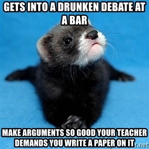 Philosophy Major Ferret - Gets into a drunken debate at a bar Make arguments so good your teacher demands you write a paper on it