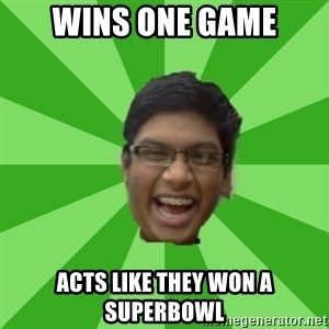 Excited Brown Kid - Wins one game Acts like they won a superbowl