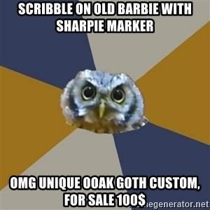 Art Newbie Owl - scribble on old barbie with sharpie marker omg unique ooak goth custom, for sale 100$