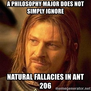 Boromir - A Philosophy Major does not simply Ignore natural fallacies in ANT 206