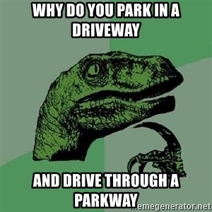 Philosoraptor - WHY DO YOU PARK IN A DRIVEWAY AND DRIVE THROUGH A PARKWAY