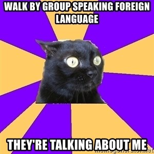 Anxiety Cat - walk by group speaking foreign language they're talking about me