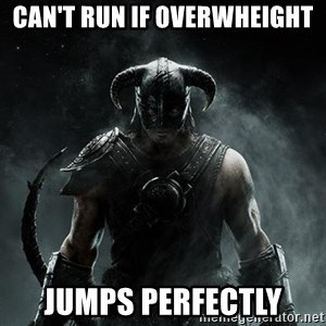 Scumbag Dovahkiin - Can't run if overwheight jumps perfectly