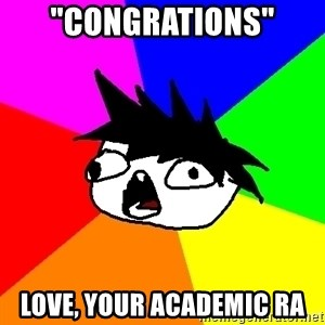 "Dumbass Tabooby - ""Congrations"" Love, your academic RA"