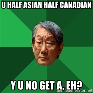 High Expectations Asian Father - u half asian half canadian y u no get A, eh?