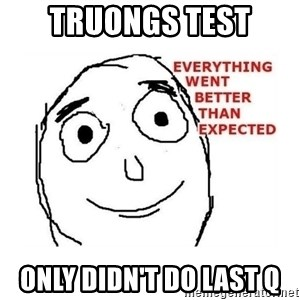 everything went better than expected - Truongs test only didn't do last q