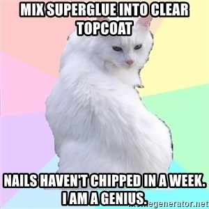Beauty Addict Kitty - mix superglue into clear topcoat nails haven't chipped in a week. i am a genius.