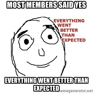everything went better than expected - Most MEmbers said yes everything went better than expected