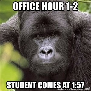 Grad Student Gorilla - office hour 1-2 student comes at 1:57