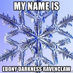 Special Snowflake meme - My name Is ebony darkness ravenclaw