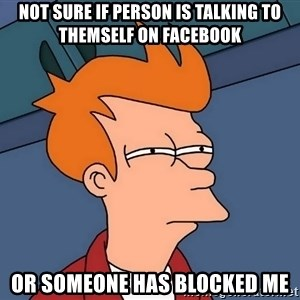Futurama Fry - not sure if person is talking to themself on facebook or someone has blocked me