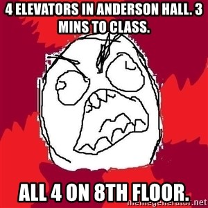 Rage FU - 4 ELEVATORS IN ANDERSON HALL. 3 MINS TO CLASS.  ALL 4 ON 8TH FLOOR.