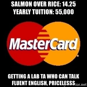 mastercard - SALMON OVER RICE: 14.25          YEARLY TUITION: 55,000 getting a lab ta who can talk fluent english, pricelesss