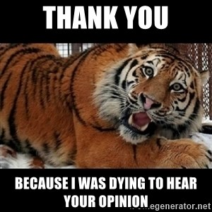 Sarcasm Tiger - thank you because i was dying to hear your opinion