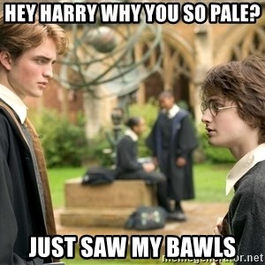 Harry Potter  - Hey harry why you so pale? just saw my bawls