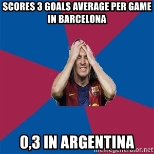 Lionel Messi Problems - Scores 3 goals average per game in barcelona 0,3 in argentina