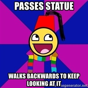 Typical Doctor Who Fan - Passes statue walks backwards to keep looking at it