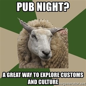 Sociology Student Sheep - Pub night? A great way to explore customs and culture