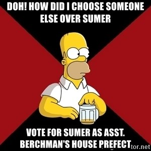 Homer Jay Simpson - Doh! how did i choose someone else over sumer vote for sumer as asst. berchman's house prefect
