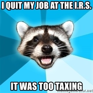 Lame Pun Coon - i quit my job at the i.r.s. it was too taxing