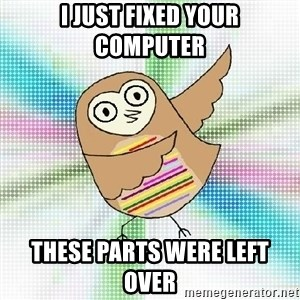 Advice Owl - I just fixed your computer these parts were left over