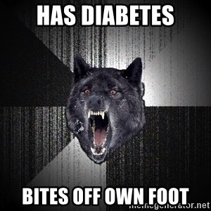 Insanity Wolf - Has diabetes bites off own foot