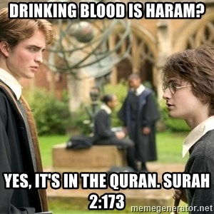Harry Potter  - Drinking blood is haram? Yes, it's in the quran. Surah 2:173