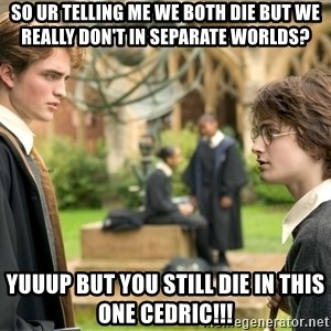 Harry Potter  - So ur telling me we both die but we really don't in SEPARATE worlds? YUUUP but you still die in this one Cedric!!!