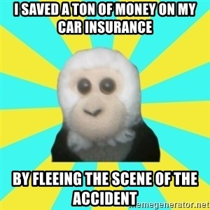 Dafak Monkey - i saved a ton of money on my car insurance by fleeing the scene of the accident