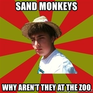Casual Racist Hillman - sand monkeys why aren't they at the zoo