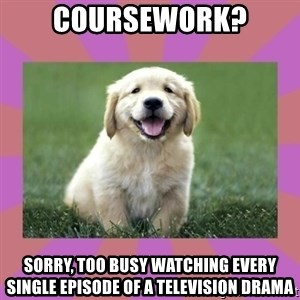 a level puppy - coursework? sorry, too busy watching every single episode of a television drama
